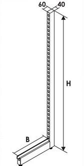 Дополнительная стойка для стеллажа пристенная