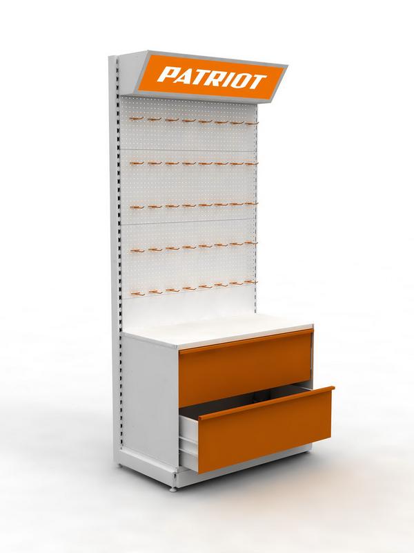 Стеллаж металлический брендированный с ящиками Patriot