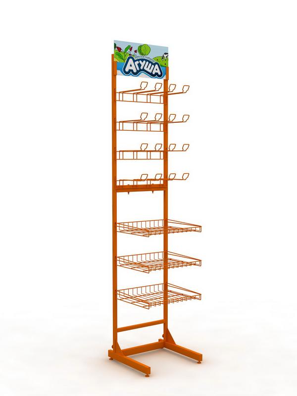 Рекламная торговая стойка с крючками