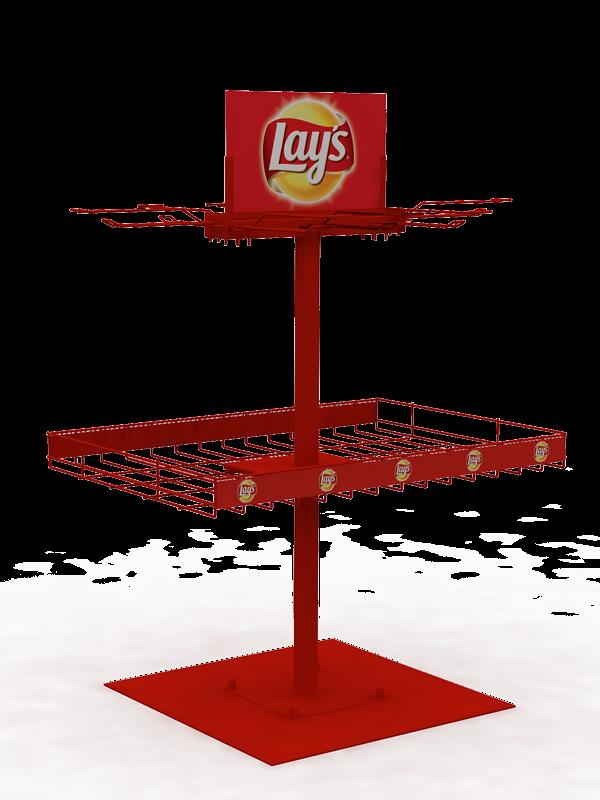 Стойка торговая брендированная напольная для чипсов Lays
