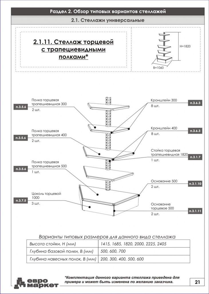 Металлический стеллаж торговый торцевой трапециевидный