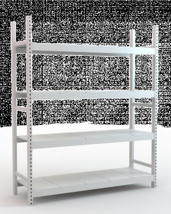 Металлический стеллаж складской высотой 250 см с наборными полками