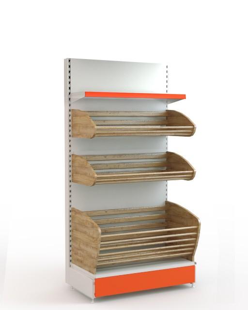 Хлебный стеллаж торговый комбинированный с одной полкой и двумя корзинами