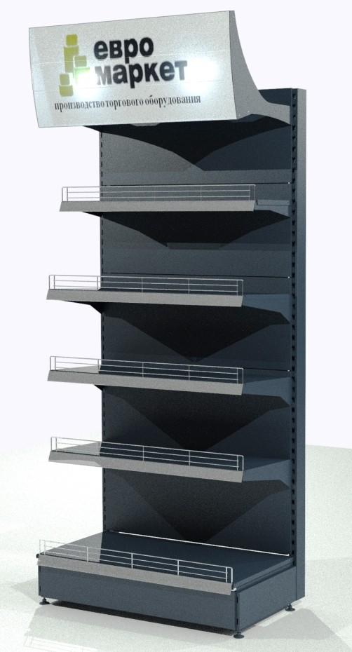 Стеллаж пристенный с рекламным фризом для кондитерских изделий