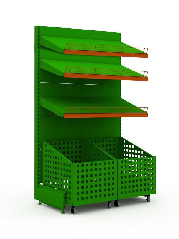 Стеллаж торговый овощной с выкатными ящиками и тремя полками