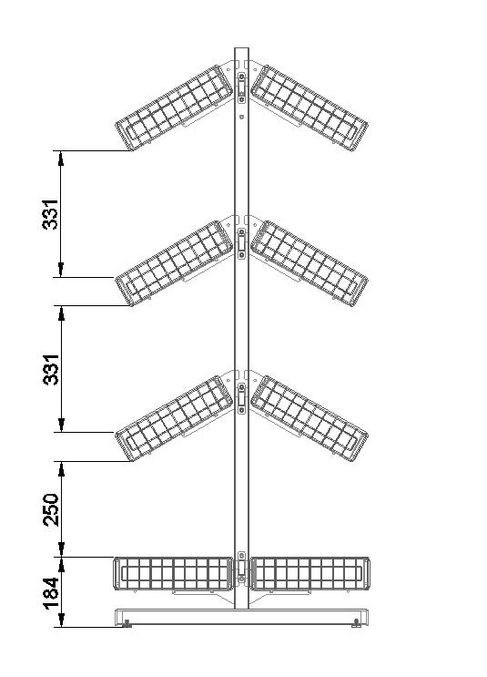 Двухсторонняя стойка 8 корзин (ДхГхВ) 736х650х1500