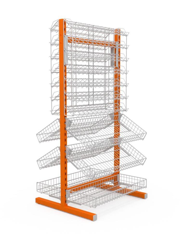 Двухсторонняя стойка (6 корзин + 2 наклонных блока 7 полок) (ДхГхВ) 736х650х1500