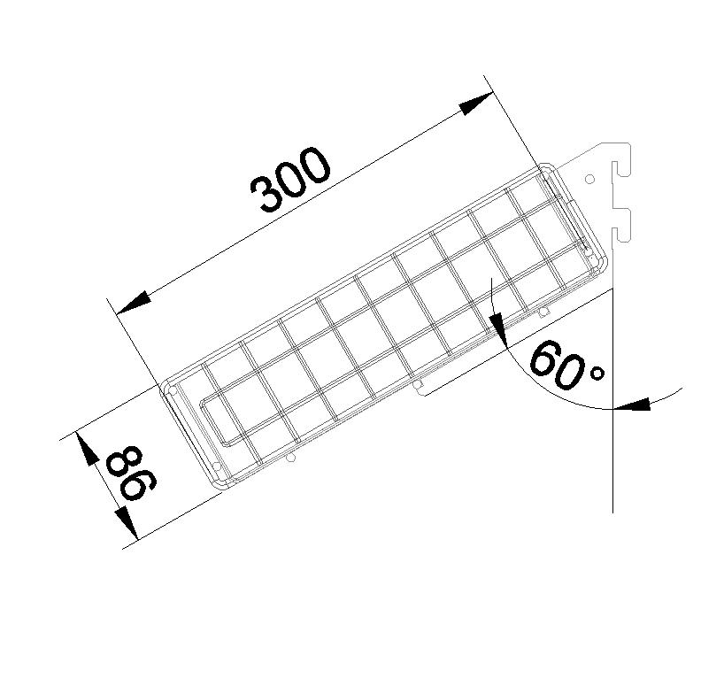 Торцевая наклонная корзина 647*300*80