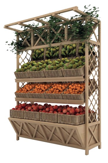 Деревянный стеллаж для овощей деревянный под корзины