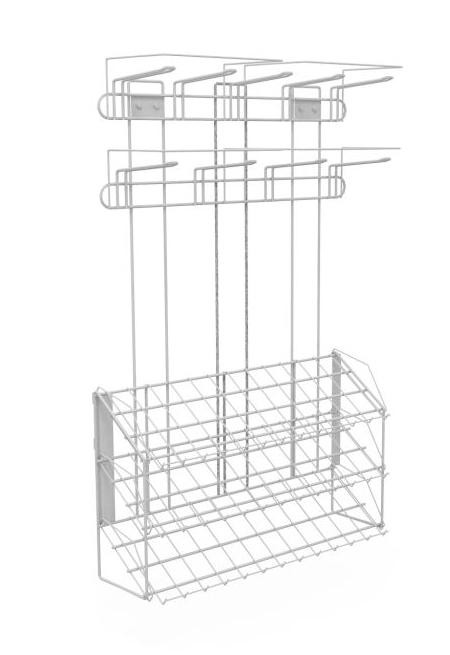 Блок наклонный 3 полки с кронштейнами (ДхГхВ) 647х195х950 с блоком крючков 9шт.