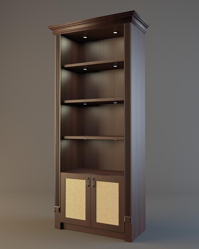 Алкогольный шкаф для напитков с подсветкой полок и фризом V 023