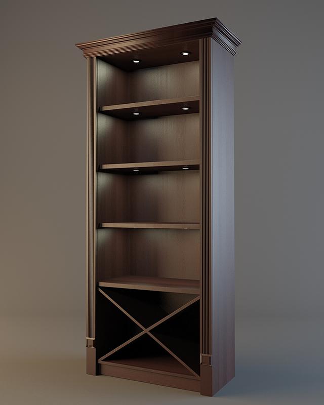 Шкаф деревянный для фирменного алкоголя с зеркалом и подсветкой V 021