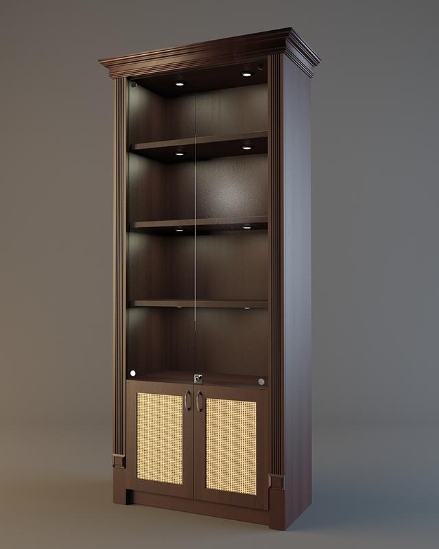 Деревянный шкаф для алкогольной продукции с подсветкой и фризом LD 001