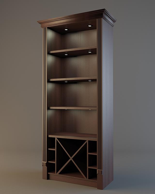 Шкаф из дерева для алкогольных напитков с зеркальной стенкой V 019