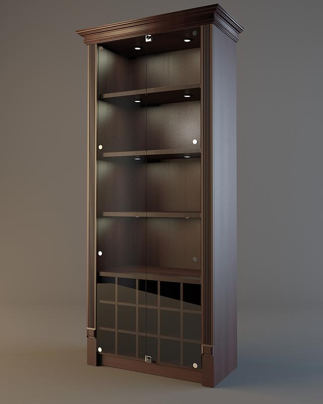 Шкаф деревянный для алкоголя с подсветкой и зеркалом LD 005
