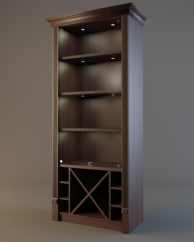 Шкаф деревянный для алкоголя с зеркалом и подсветкой LD 004