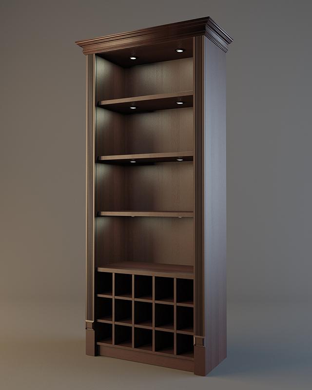 Алкогольный шкаф из дерева с фризом и подсветкой V 017