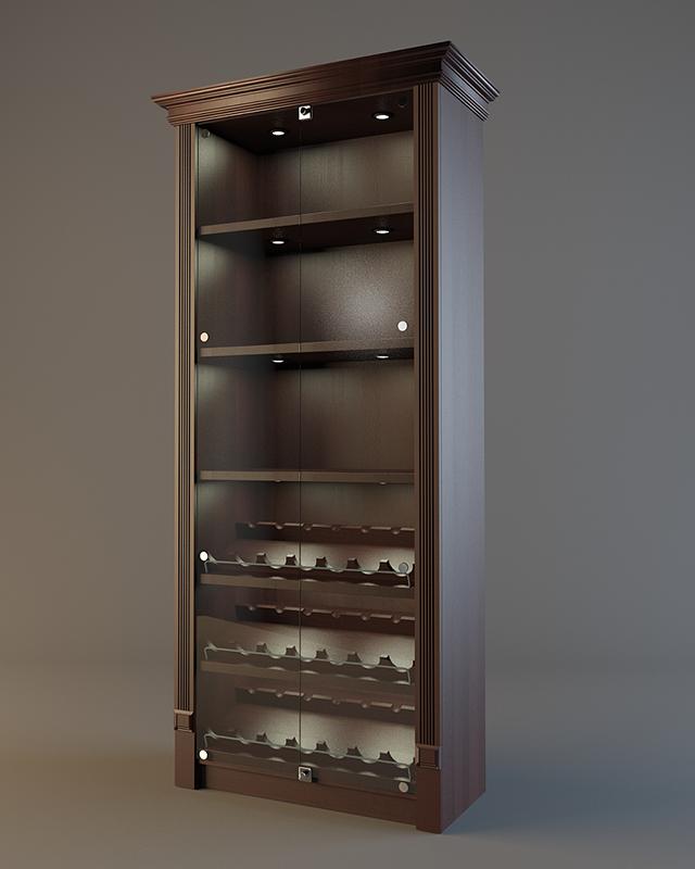 Шкаф деревянный для алкоголя с зеркальной задней стенкой LD 002