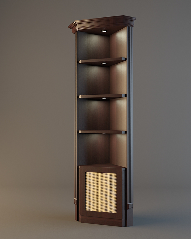 Деревянный стеллаж угловой для вина с зеркальной задней стенкой LD 007